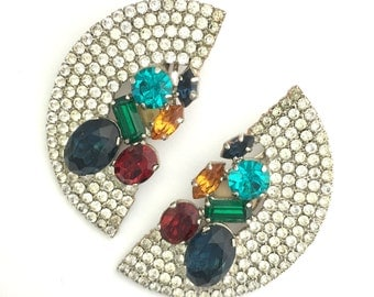 Huge Semicircle 1980s Rhinestone Statement Earrings