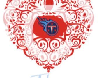 Tennessee Titans Ornate Heart SVG File