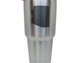 Arizona Stainless Steel Tumbler, 30 Oz Insulated Tumbler, Laser Etched In Usa