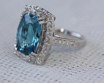 8.45 TCW Natural Blue Topaz and Diamonds in 14K Solid White Gold Ring
