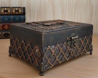 Steampunk box, Jewelry box, Jewelry storage, Vintage style, Accessories, Victorian, Gears, Wooden, Jewelry organizer, Steampunk art, Casket