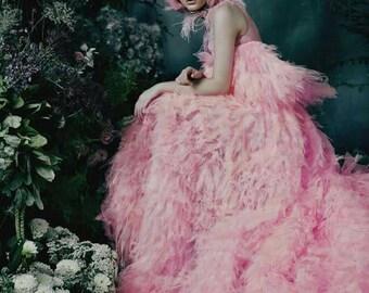 Dress by designer Tanya Swan, tulle fluffy skirt dress, outstanding dress, handmade Tutu skirt dress.