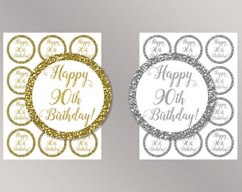 Happy 90 th Birthday Cupcake Toppers, Happy Birthday favor tags, 90th Birthday Party Decor, Birthday Decorations, Gold, Silver Cake toppers