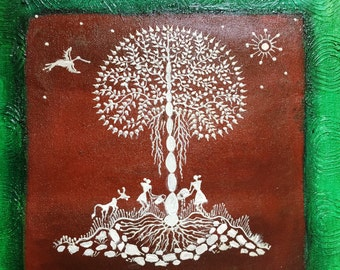 Original Warli Art painting by our shop's own Artisan - Acrylic on Canvas in Brown, Orange & Brown on Green background ideal Christmas gift