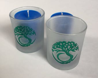 Tree Of Life Etched Glass Votive Holder