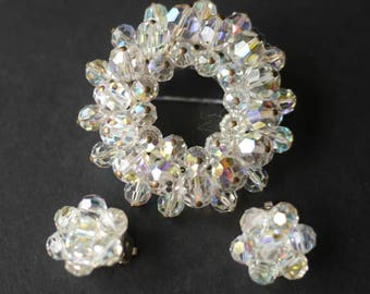 Gorgeous sparkly aurora borealis beaded crystal circle brooch, with matching clip on earrings