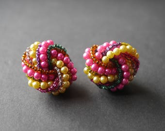 Beaded cluster knot 1950s earrings for pierced ears, multicoloured beaded