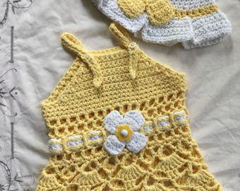 Vintage Crochet Sun Dress and Hat