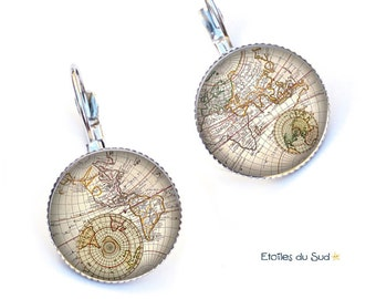 World map, travel, planet, cabochons, surgical steel hook earrings