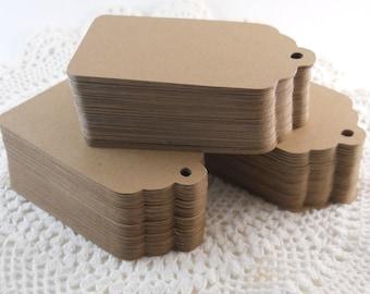 50 American Kraft tags tags size small 3cmx5cm Festonnees