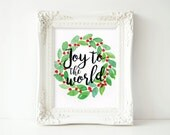 Joy to the World Watercolor Wreath 8x10 Digital Print