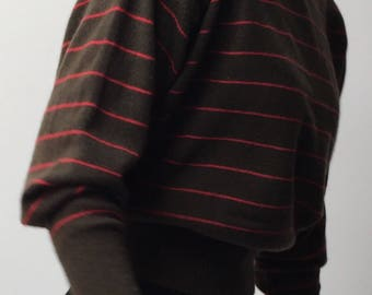 Vintage Striped jaeger soft khaki and orange striped jumper wool knit