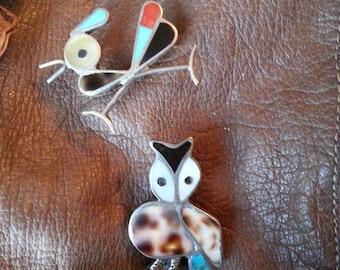 Set of 2 Zuni Native Southwestern Artisan 925 Sterling Turquoise Onyx Mosaic Inlay Roadrunner & Owl Scatter Pins / Pendant