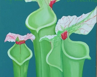 "Pitcher Plant Sarracenias Carnivorous Botanical - large acrylic painting, 18"" x 24"""