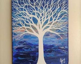 Original Tree Painting Abstract Art Blue Purple White Pallet Knife Artwork Gift 8 x 10 Canvas Modern Office Wall Home Decor Colorful Nature
