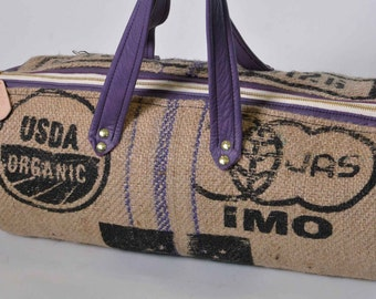 Leather Burlap Duffel Bag Purple Leather Upcycled Coffee Bean Sack Zipper Airline Carry On Weekender