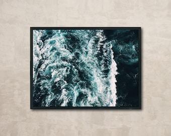 Ocean waves, Ocean Print, Beautiful Nature Photo, Wall Art Printable, Instant Download, Modern Art, Digital Print