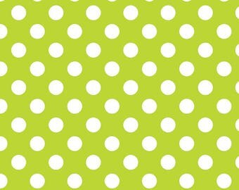 Lime Green Polka Dot Fabric - Riley Blake Medium Dot - Green and White Dot Fabric