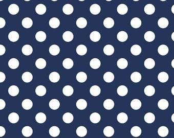 Navy Blue Polka Dot Fabric - Riley Blake Medium Dot - Navy and White Dot Fabric