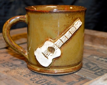 Handspun Brown Guitar Mug