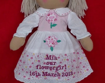 "personalised rag doll flowergirl bridesmaid wedding gift flower dress 40cm 16"""