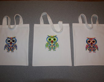 Owl emroidery tote bag