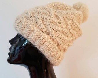 Cream winter bobble Hat