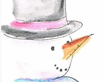 Happy Snowman - ACEO