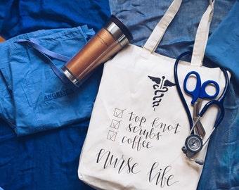 Nurse Bag, Nursing Tote Bag. RN/LPN Bag. Nurse graduation gift.