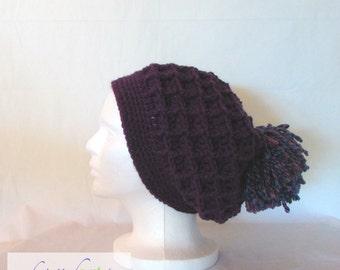 BOHO Slouchy Hat / Handmade Crochet / Women's Gift Idea / Purple / Pom Pom / Acrylic / Adult Size / Warm