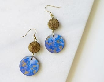 Iridescent Moss - Hand Painted on Wood Earrings