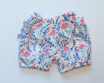 "Eddie & Bee organic cotton Ruffle bum bloomers in ""flamingos"" print"
