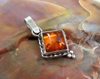 Amber Pendant, Sterling Silver Amber, Amber Necklace, Silver Amber Necklace, 925, Amber Jewelry, Under 50, Baltic Amber Pendant, 1038