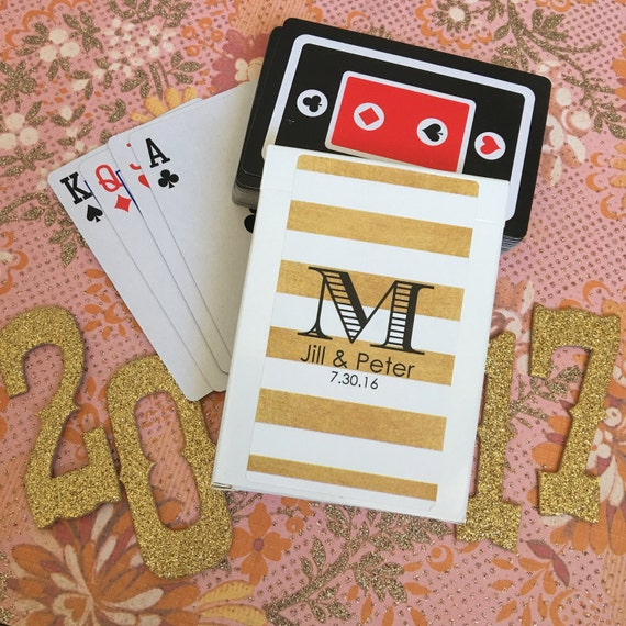 Set Of 10 Personalized Gold Stripe Wedding Favor Playing Card