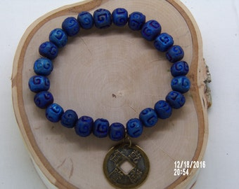 B1283 Blue Glass Beaded Bracelet.