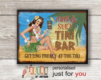 Tiki Bar Sign, metal wall plaque, retro style, custom bar sign, Personalised Tiki, Personalised Gift, Tropical Bar Sign, Beach Bar