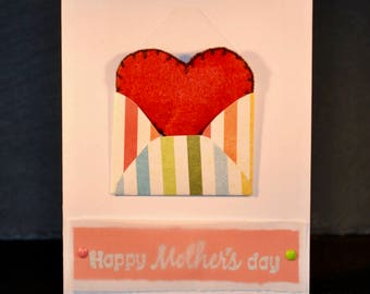 Mother's Day Red Heart in Envelope (White Card)