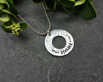 Hand Stamped Necklace - blessed - Christian