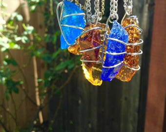 Glass wire wrap necklaces silver copper bronze chain jangle bangle