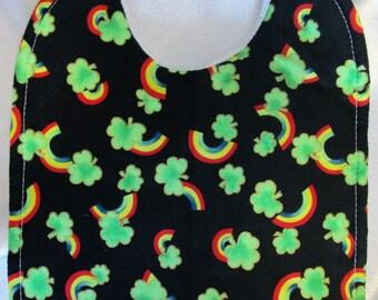 Shamrocks! Rainbows! Baby Bib- quilted, absorbent- CUTE!