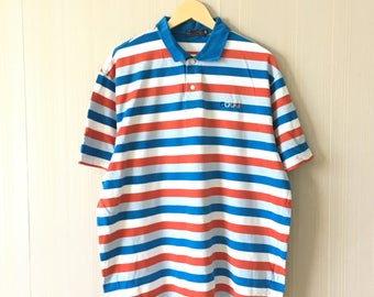 Rare!! COOGI Mens Polo Tshirt Tee Multicolour Stripes Activewear Sportwear Rugby Small Logo Embroidery 2XL Size