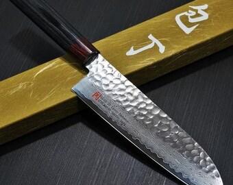 Hammered Damascus VG10 Steel Japanese Santoku Knife  / Kitchen Knife / Chef Knife  - 180mm - Hand Forged