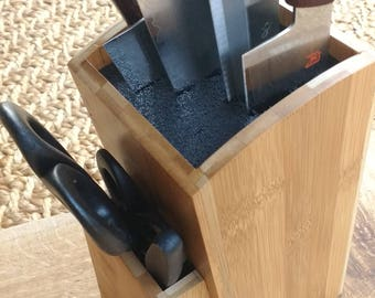 Universal Bamboo Wood Knife Block / Holder, Perfect for Japanese Knives