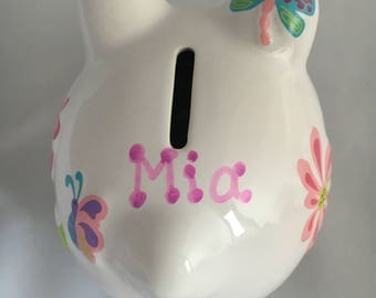Butterfly and Garden Personalized Piggy Bank