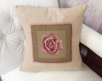 Charming vintage rose tapestry cushion