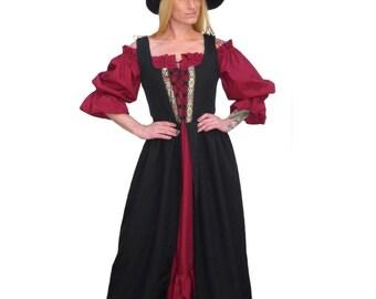 Fd1-XL Black Medieval Renaissance Clothing Faire Costume Skirt Bodice Pirate Peasant Wench Highlander Irish Over-Dress