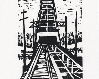 Providence Drawbridge - Block Print