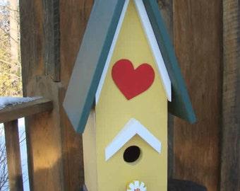 Yellow Red Heart Bird House