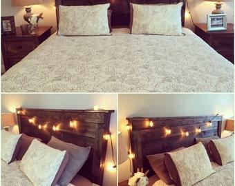 headboard, rustic headboard, wood headboard, bed, bedroom set, farmhouse, reclaimed wood, country style headboard, dark stained headboard