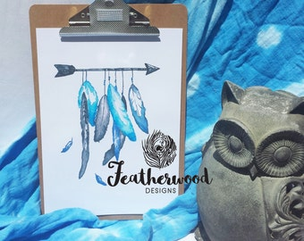 Arrow with Blue Feathers Art Print - Tribal Collection